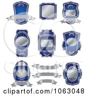 Clipart Blank Silver And Blue Labels Digital Collage 3 Royalty Free Vector Illustration