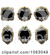 Clipart Blank Gold And Black Labels Digital Collage 11 Royalty Free Vector Illustration