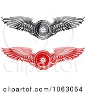 Clipart Winged Tires Digital Collage Royalty Free Vector Illustration