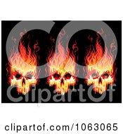Clipart Fiery Skulls Digital Collage Royalty Free Vector Illustration