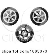 Clipart Wheels Digital Collage Royalty Free Vector Illustration