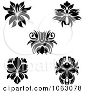 Clipart Black And White Flourishes Digital Collage 8 Royalty Free Vector Illustration