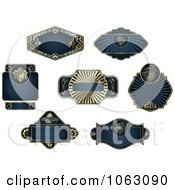 Clipart Blank Blue Labels Digital Collage 3 Royalty Free Vector Illustration