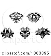 Clipart Flourishes In Black In White Digital Collage 2 Royalty Free Vector Illustration