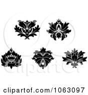 Clipart Black And White Flourishes Digital Collage 14 Royalty Free Vector Illustration