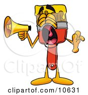 Clipart Picture Of A Paint Brush Mascot Cartoon Character Screaming Into A Megaphone by Toons4Biz