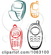 Clipart Cell Phones Digital Collage Royalty Free Vector Illustration