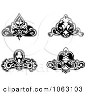 Clipart Black And White Flourishes Digital Collage 4 Royalty Free Vector Illustration