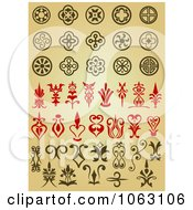 Clipart Design Elements Digital Collage On Tan Royalty Free Vector Illustration