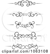 Clipart Black And White Flourish Borders Digital Collage 5 Royalty Free Vector Illustration
