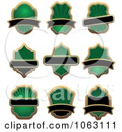 Clipart Green And Black Labels Digital Collage Royalty Free Vector Illustration
