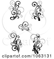 Clipart Flourish Scrolls In Black In White Digital Collage 5 Royalty Free Vector Illustration