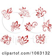 Clipart Red Flourishes Digital Collage 3 Royalty Free Vector Illustration