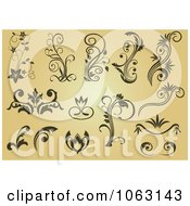 Clipart Flourishes On Tan Digital Collage Royalty Free Vector Illustration