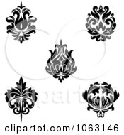 Clipart Black And White Flourishes Digital Collage 12 Royalty Free Vector Illustration