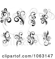 Clipart Black And White Flourishes Digital Collage 13 Royalty Free Vector Illustration