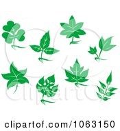 Clipart Green Leaves Digital Collage 1 Royalty Free Vector Illustration