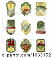Clipart Blank Green Labels Digital Collage 12 Royalty Free Vector Illustration