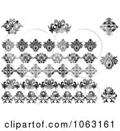 Clipart Flourishes Digital Collage 8 Royalty Free Vector Illustration