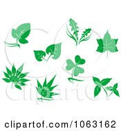 Clipart Green Leaves Digital Collage 2 Royalty Free Vector Illustration