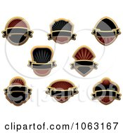 Clipart Blank Gold And Black Labels Digital Collage 16 Royalty Free Vector Illustration