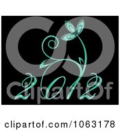 Clipart Floral Green 2012 On Black Royalty Free Vector Illustration