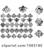 Clipart Flourishes Digital Collage 1 Royalty Free Vector Illustration