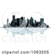 Clipart Waterfront City Skyline 5 Royalty Free Vector Illustration