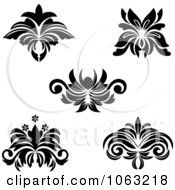 Clipart Black And White Flourishes Digital Collage 7 Royalty Free Vector Illustration