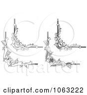 Clipart Floral Corner Elements Digital Collage 6 Royalty Free Vector Illustration