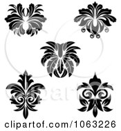 Clipart Black And White Flourishes Digital Collage 3 Royalty Free Vector Illustration