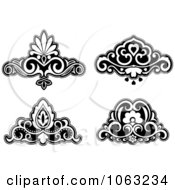 Clipart Black And White Flourishes Digital Collage 5 Royalty Free Vector Illustration