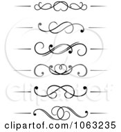 Clipart Black And White Flourish Borders Digital Collage 4 Royalty Free Vector Illustration