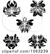 Clipart Black And White Flourishes Digital Collage 2 Royalty Free Vector Illustration