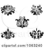 Clipart Black And White Flourishes Digital Collage 11 Royalty Free Vector Illustration