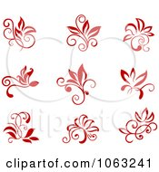 Clipart Red Flourishes Digital Collage 4 Royalty Free Vector Illustration