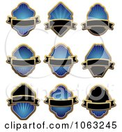 Clipart Blank Blue Labels Digital Collage 2 Royalty Free Vector Illustration