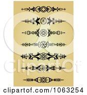 Clipart Vintage Flourish Borders Digital Collage 3 Royalty Free Vector Illustration