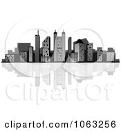 Clipart Waterfront City Skyline 4 Royalty Free Vector Illustration