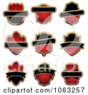 Clipart Blank Red Labels Digital Collage 5 Royalty Free Vector Illustration