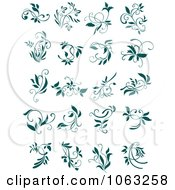 Clipart Teal Flourishes Digital Collage 6 Royalty Free Vector Illustration