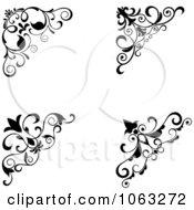 Clipart Floral Corner Elements Digital Collage 4 Royalty Free Vector Illustration