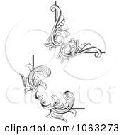 Clipart Floral Corner Elements Digital Collage 2 Royalty Free Vector Illustration