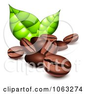 Clipart 3d Coffee Beans And Green Leaves Royalty Free Vector Illustration