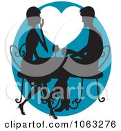 Clipart Romantic Couple Drinking Wine In Silhouette Royalty Free Vector Illustration by Maria Bell