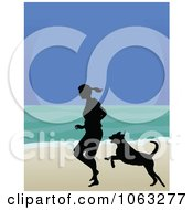 Clipart Woman And Dog Running On A Beach In Silhouette Royalty Free Vector Illustration