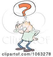 Clipart Confused Toon Guy Scratching His Head Royalty Free Vector Illustration