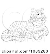 Clipart Seated Tiger Outline Royalty Free Illustration by Alex Bannykh