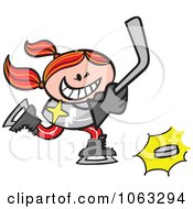 Clipart Hockey Player Girl Royalty Free Vector Illustration