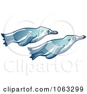 Clipart Penguin Pair Swimming Royalty Free Vector Illustration